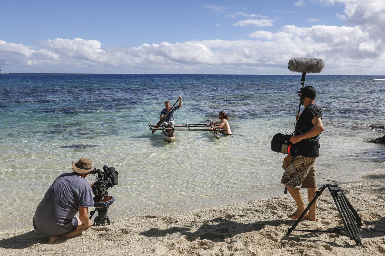 """160609_00044Dirk Steffens mit Filmcrew von ZDF """"Terra X"""" in Vanuatu.Dirk Steffens with Film crew from ZDF """"Terra X"""" in Vanuatu."""