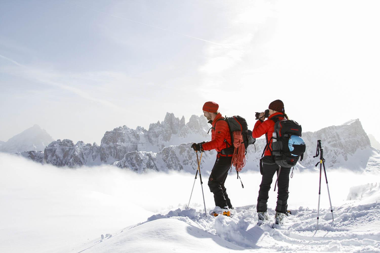 140218_1011Ulla Lohmann und Sebastian Hofmann durchqueren die Dolomiten, Italien.Ulla Lohmann and Sebastian Hofmann cross the Dolomites, Italy.Photo: Felix Rahm