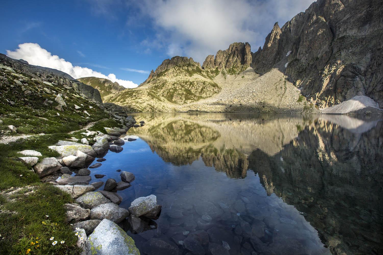 "130829_1245See ""Lago di Cima d'Asta"", Dolomiten, Italien. Lake Lago di Cima d'Asta, Dolomites, Italy."