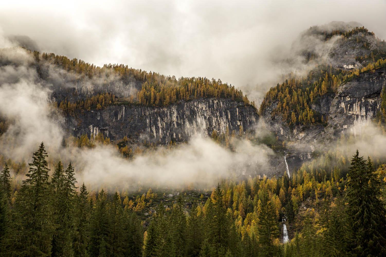 131024_3441Nebelverhangenes Tal bei Gares, Pala, Dolomiten, Italien.Valley in mist near Gares; Pala Group; Dolomites, Italy.